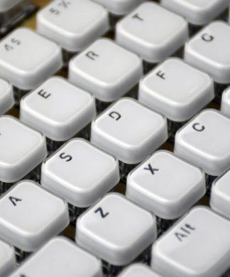 White Acrylic Chiclet Keys Closeup