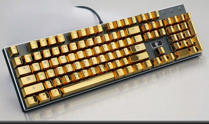 Metallic Gold Electroplated Keycaps Full