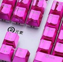 Metallic Pink Electroplated Keycaps Right