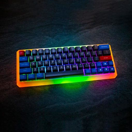 Maxkey Blue and Gray GK64s Orange and Green LEDs