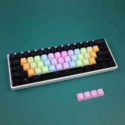 OEM Profile PBT Alpha Keycaps – Rainbow Wave Blank LIGHT