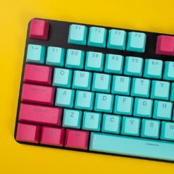 OEM Profile Cyan and Burgundy PBT keycaps 108 keycaps main